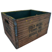 Vintage Gold Metal Farms Bronx, NY Upcycled Bicycle Crate