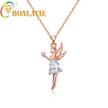 Tinkerbell Angel Fairy Necklace Pendant Clear Rhinestone Necklace Crystal Wings Pendant For Teen Girls And Women NYNC45