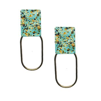 Dot Painted Layered Square Earrings | 2 Colors