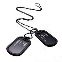 Designer Mens Military Army Style Black 2 Dog Tags Chain Mens Pendant Necklace Jewelry Accessories