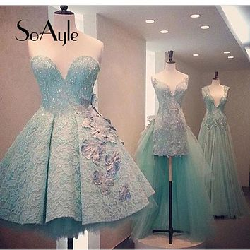 SoAyle A-Line Sweetheart Lace Beading Mint Green Flower Knee Length Cocktail Dresses 2016 Robe Ajax Vestidos De Festa for Youth
