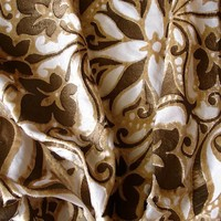 Light Gold Flora - Burnout Velvet On Sheered Fancy Fabric With Printing Technique