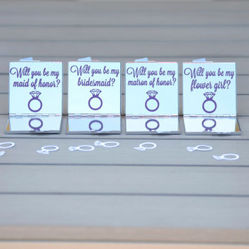 Customizable set of 5 bridesmaid proposal mirrors | Will you be my bridesmaid, jr bridesmaid, maid of honor, matron of honor, flower girl?