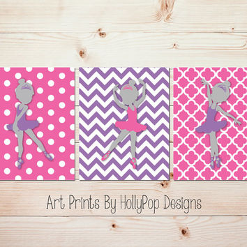 Ballerina Nursery Wall Decor Set of 3 Toddler Girls Room Art Prints Bright Pink Purple Wall Art Nursery Trio Print Set Baby Girl Art #1012