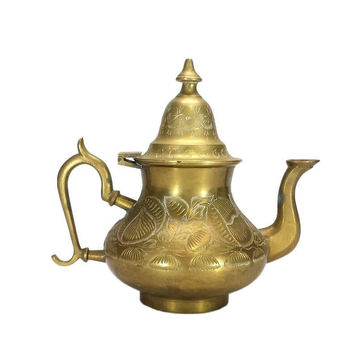 Brass Teapot Coffee Kettle Hinged Lid Ornate Handle Engraved Floral Decorative Home Aged Patina Shabby French Country Farmhouse Kitchen Boho