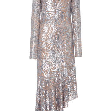 Silver Leaf Paillette Dress | Moda Operandi