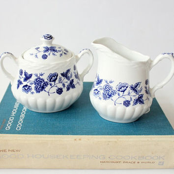 ironstone sugar and creamer set // vintage blue and white transferware // Old Chelsea Fine Staffordshire Ware England