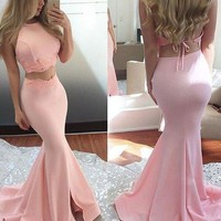 Two Piece Long Mermaid Pink Prom Dress, Long Mermaid Pink Evening Dress