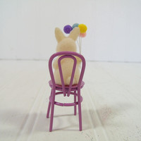 Vintage Russ Berrie Collectible White Flocked Bunny with Balloons Sitting on Purple Metal Soda Fountain Chair - Miniature Easter Decoration