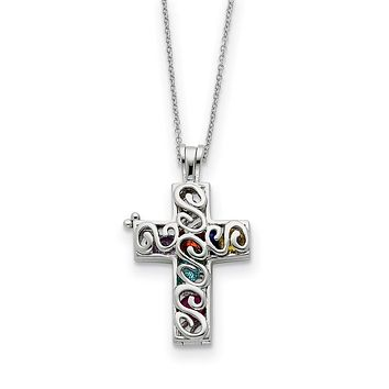 Sterling Silver & CZ Promises of The Rainbow, Cross Necklace, 18 Inch