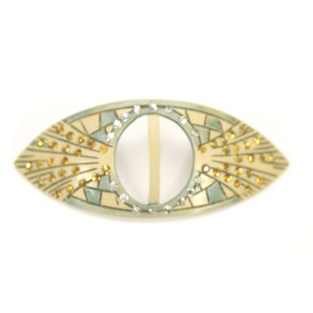 """Vintage 1920s Art Deco Celluloid Buckle Hat Ornament Green Ivory Amber Rhinestones 3.5"""""""