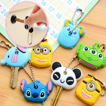 Heeda Korean Cute Stich Animal Keychain Fashion Silicone Panda Key Holder Children Jewelry Accessories 2018 Minion Key Cover