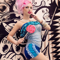 Kawaii Circus Costume Romper in Metallic Blue with Ruffles by Janice Louise Miller