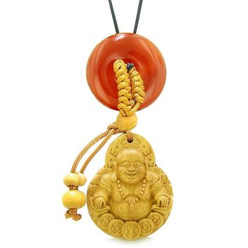 Magic Happy Buddha Car Charm or Home Decor Carnelian Lucky Coin Donut Protection Powers Amulet