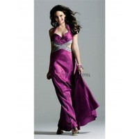A-Line Halter Floor-Length Elastic Satin Prom Dress SAL0933