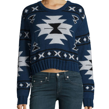 Long-Sleeve Tribal-Print Crop Sweater, Indigo, Size: