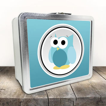 Funny Cute Turquoise Owl Lunch Box - Turquoise Gradient Background - Cute Owl Cartoon Illustration - Tin School Lunch Art Craft Supplies Box