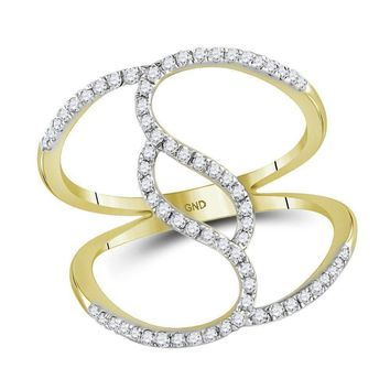 10kt Yellow Gold Womens Round Diamond Open Strand Wide Band Ring 1-3 Cttw