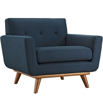 Engage Armchair Fabric Rubber Wood Legs Accent Chair in Azure