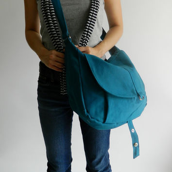 SALE - 10% OFF - Kylie in teal // Messenger / Diaper bag / Shoulder bag / Tote / Purse / Handbag / Hip bag / Women / For her