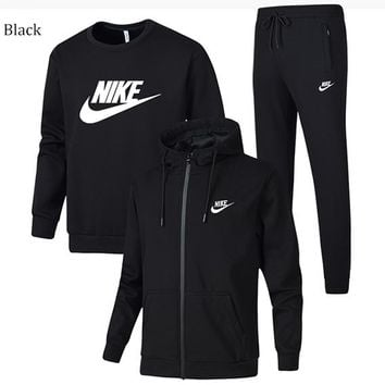 NIKE winter sports and leisure trend men's three-piece suit black