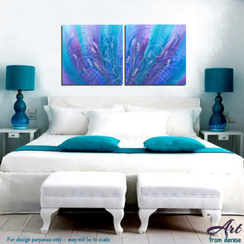 Abstract painting Large canvas art print set, Turquoise blue wall art, Teal home decor, Square Purple artwork Turquoise Master bedroom decor