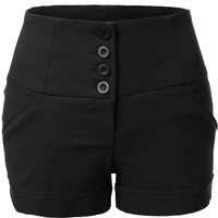 LE3NO Womens High Waisted Anchor Nautical Sailor Shorts with Pockets (CLEARANCE)
