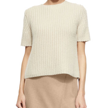 Edalina Wool-Blend Stitched Sweater, Size: