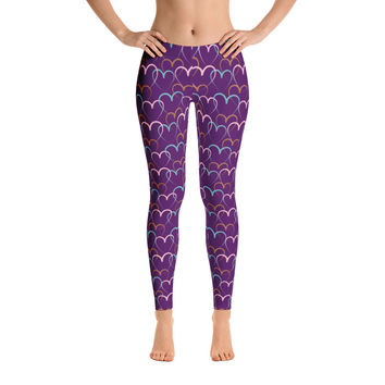 Colorful Pink Heart Leggings for Women - Stylish Durable Novelty Leggings - Cut, Sewn, and Printed in California