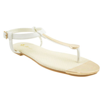 Boardwalk Breeze Gold Thong Sandals