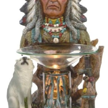 Native American Chief Wolf Table Fragrance Aroma Lamp Oil Diffuser Wax Tart Candle Warmer Burner Home Decor
