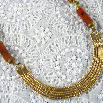 Vintage Collar Necklace, Egyptian Revival, Tortoiseshell Plastic, Tortoise Shell Cylinder Beads, Gold Crescent, 1930s Art Deco Jewelry