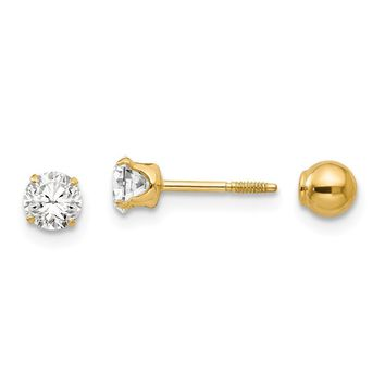 Reversible 4mm Crystal and Ball Screw Back Earrings in 14k Yellow Gold