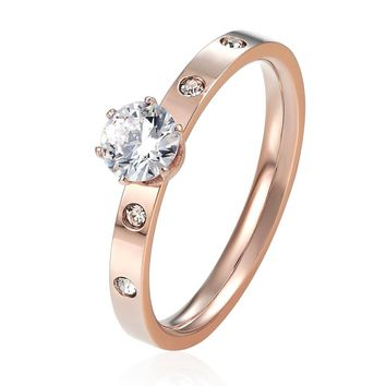 Anti Allergy Titanium Steel 1 Big 4 Small Cubic Zirconia Wedding Ring For Woman Rose Gold Color Crystal Wedding Jewelry bague