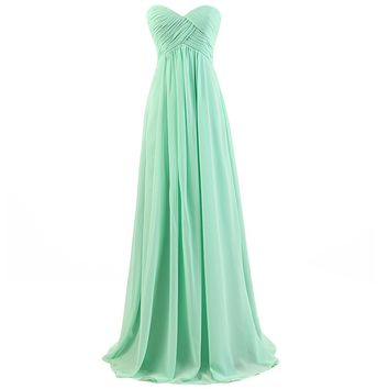 Dresstells Sweetheart Bridesmaid Chiffon Prom Dresses Long Evening Gowns for Juniors