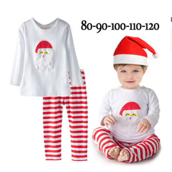 Boys Clothing Set Kids Girl Clothes Christmas Toddler Boy Clothes Long Sleeve White Colour O-neck Tops T Shirt + Striped Pants