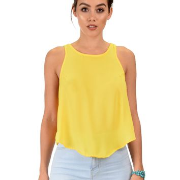 Lyss Loo Totally Crossed Out Yellow Tank Top