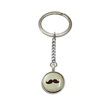 Brown Hipster Mustache Pendant Keychain