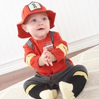 Baby Firefighter Two-Piece Layette Set in Firefighter-themed Gift Box-Unique Baby Gifts|LollipopMoon.com only $39.95 - Newborn Baby Clothes