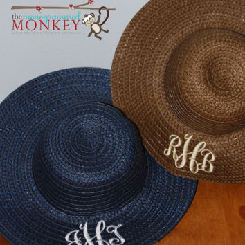 Custom Boutique Monogrammed Embroidered Personalized Women's Wide Brim Big Floppy Straw Beach Pool Sun Hat