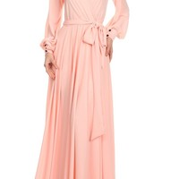 ZAZA BOUTIQUE80 — Long Sleeve Plain Maxi Dress
