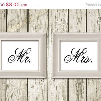 ON SALE 50 % Mr and Mrs Printable Art 10x8 inches Printable Instant Download Wall Decor M014057-58