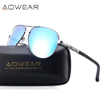 AOWEAR Aluminum Aviator Sunglasses Men Polarized Driving Goggles Mirror Sun Glasses Polaroid Women Sunglass Oculos De Sol Gafas