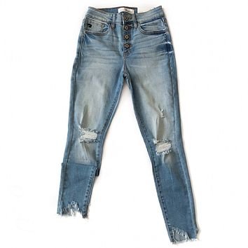 Frayed Hem Distressed Button Up Jeans