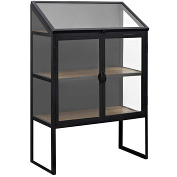 Settle Rustic Display Cabinet Lacquered Black