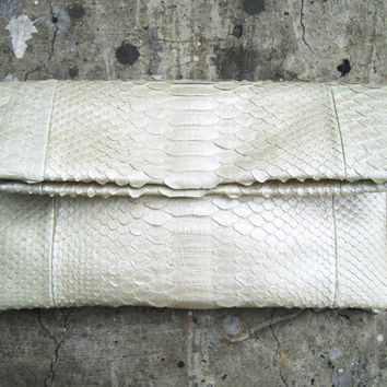 Metallic White Fold Over Python Snakeskin Leather Clutch Bag