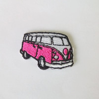 "Embroidered Tiny Volkswagen Van Vintage Car Iron on Patch Badge (1 1/4"" x 7/8"")"