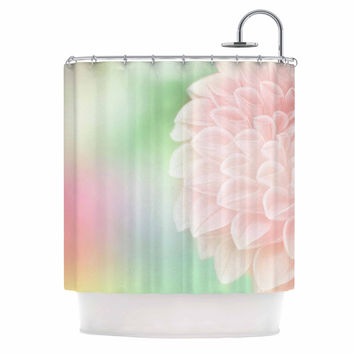 "Robin Dickinson ""Sweet Pink"" Green Floral Shower Curtain"