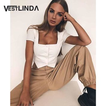 VESTLINDA Crop Top 2018 Square Neck Short Sleeve Button Shirt Blouses Blusas Women Casual White Blouse Femme Cropped Sexy Tops