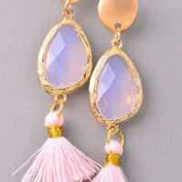 Sasha Pink Tassel Statement Earrings